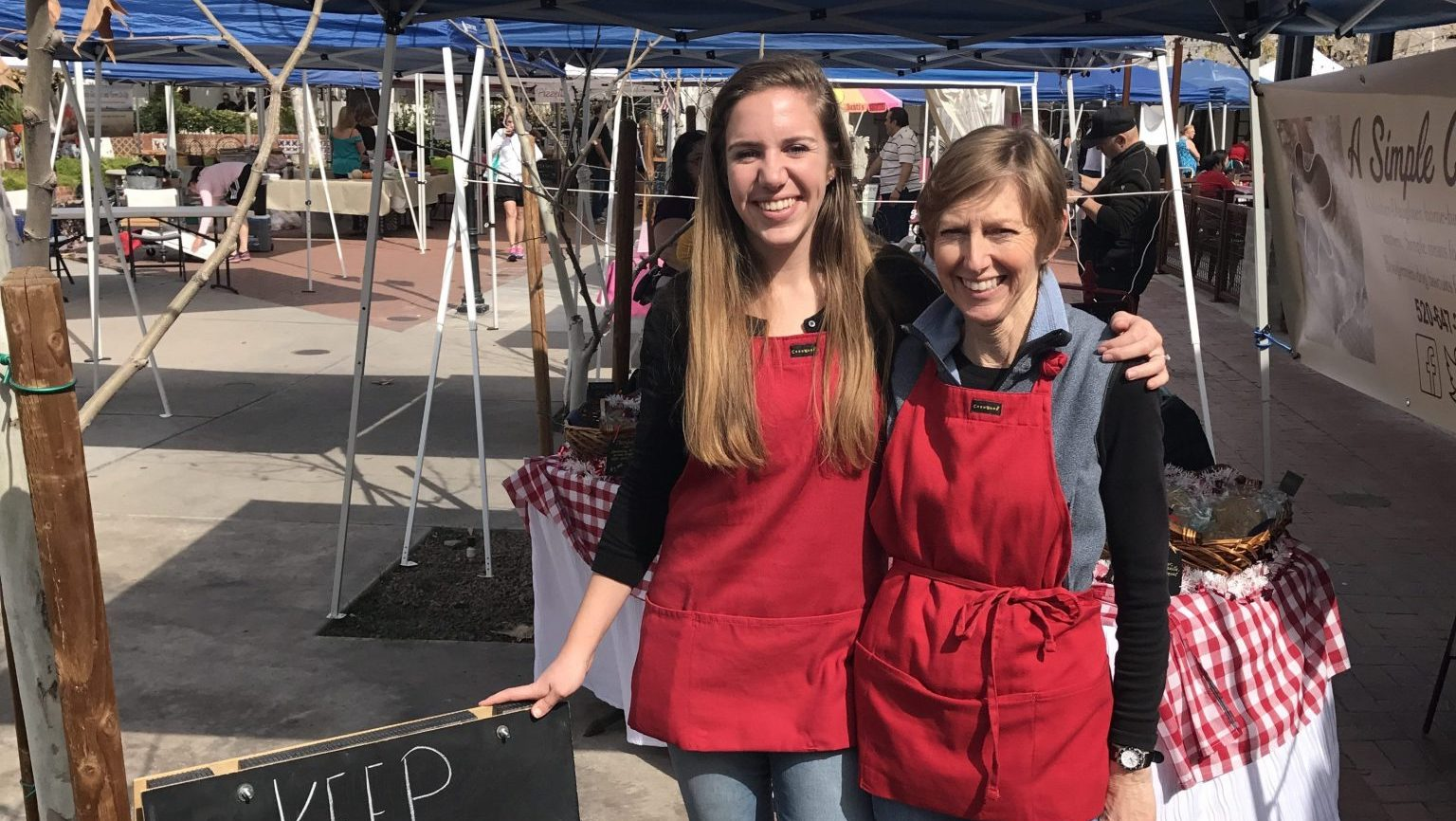 Haley and Laurie (Mom) at one of our first markets, St. Philips Plaza., Tucson, Arizona