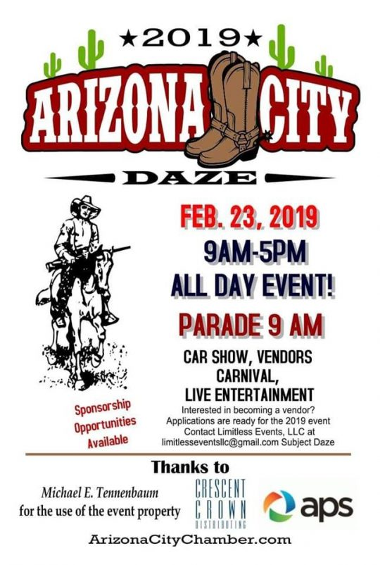 Arizona City Daze 2019 Flyer - All Day Event; Parade, Food and Entertainment