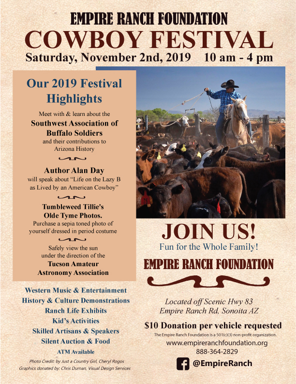 Empire Ranch Foundation Cowboy Festival flier, November 2, 2019
