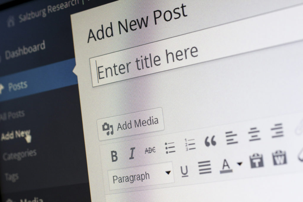 Add New Post page of WordPress to create written content