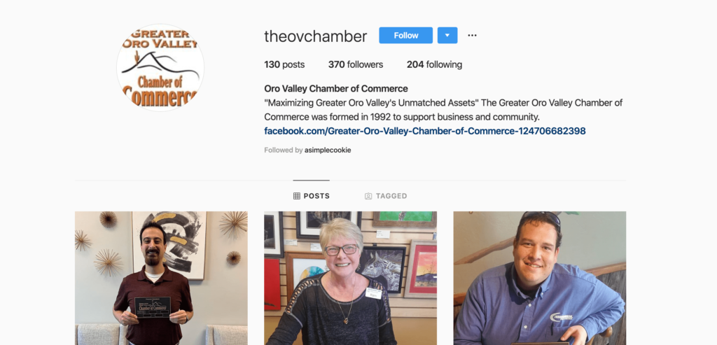 Screenshot of Oro Valley Chamber of Commerce Instagram page