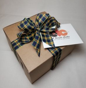 Father's Day ribbon on our kraft bakery box.
