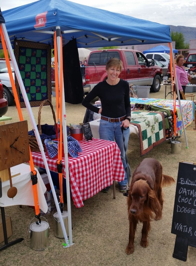 An early Tanque Verde Antique Fair with Bob's Clocks and Granddog, Dublin, along for company.