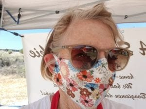 Mom/Laurie with face mask at market