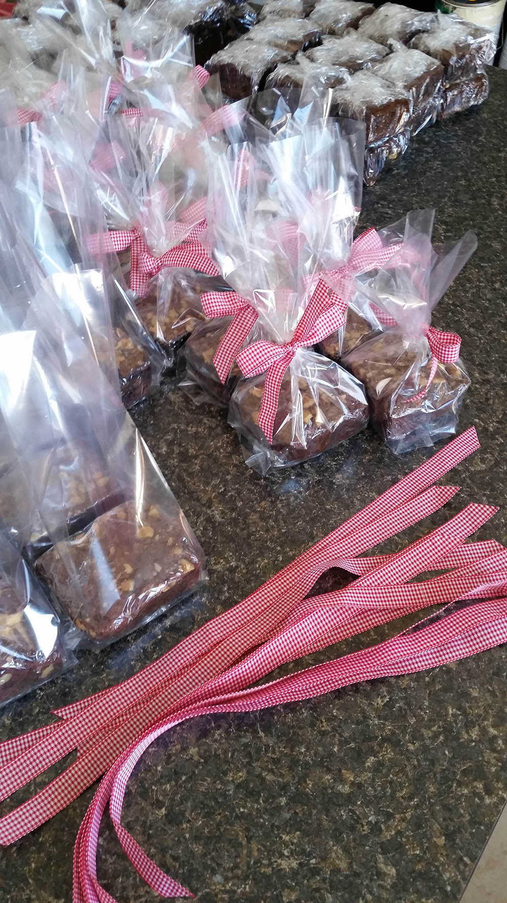 brownies being packaged for a corporate event