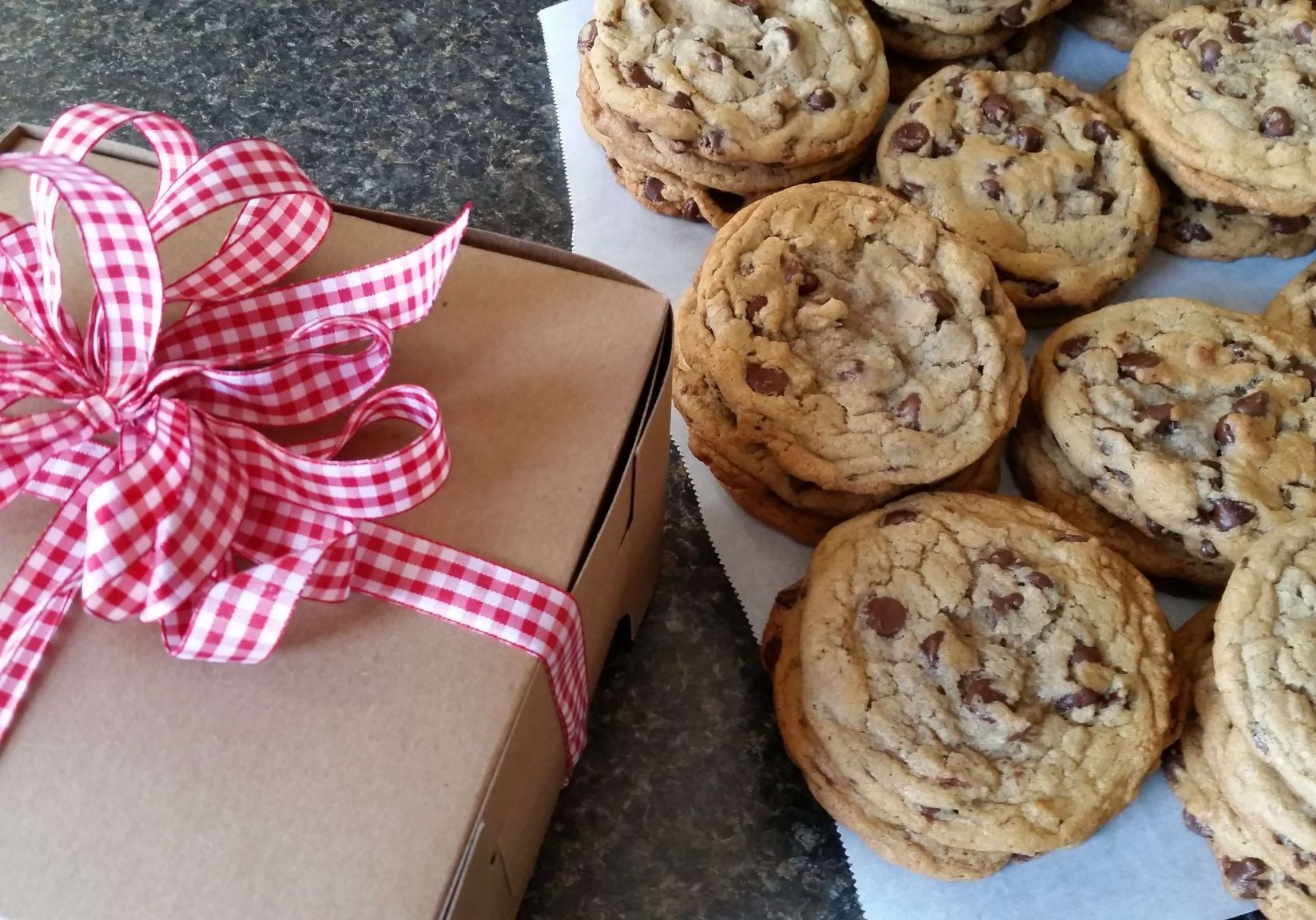 Picture of a gift box ready for Beth's Chocolate Chip cookies.